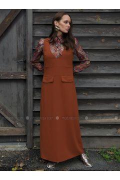 Tan - V neck Collar - Unlined - Dresses - Ayşen Özen(110322003)