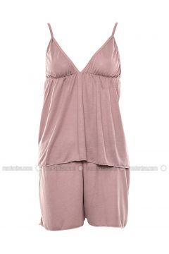Minc - V neck Collar - Nightdress - Lingabooms(110316361)