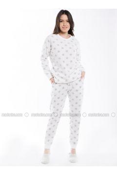 Ecru - Crew neck - Multi - Pyjama - Pamuk&Pamuk(110323068)