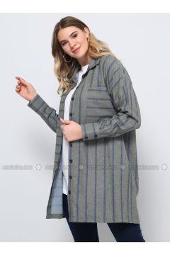 Khaki - Stripe - Point Collar - Plus Size Tunic - Alia(110314623)