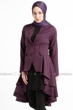 Purple - Unlined - V neck Collar - Jacket - Tuana(110336659)