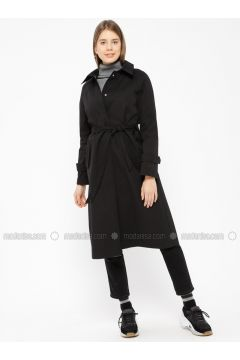Black - Unlined - Point Collar - Trench Coat - Pitti Collection(110322741)