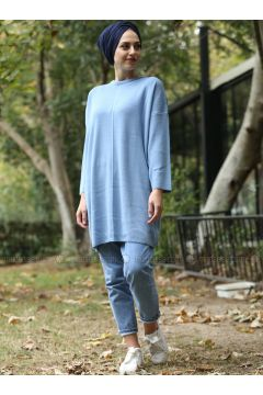 Blue - Crew neck - Cotton - Acrylic -- Jumper - Lysa Studio(110332823)