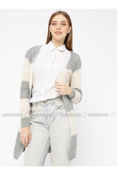 Gray - Stripe - Acrylic -- Cardigan - Meliana(110331013)