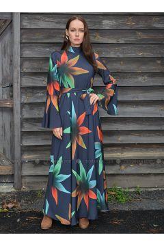 Navy Blue - Floral - Fully Lined - Crepe - Dresses - Ayşen Özen(110322000)