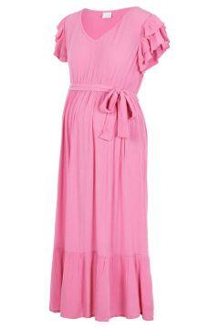 MAMA.LICIOUS Manches Ruchées Robe Mi-longue De Grossesse Women pink(114652172)