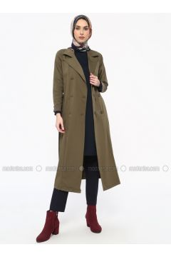 Green - Khaki - Unlined - Shawl Collar - Cotton - Trench Coat - Tavin(110330896)