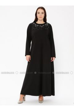 Black - Unlined - Crew neck - Plus Size Dress - EFE FERACE(110337657)