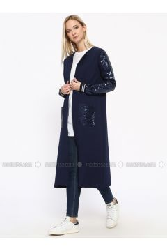 Navy Blue - Unlined - Cotton - Topcoat - Missemramiss(110330947)
