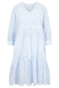 PIECES Broderie Anglaise Jurk Dames Blauw(114505023)