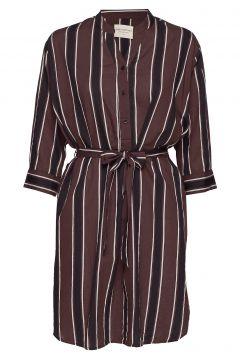 Amelia Dress Autumn Stripe Kleid Knielang Rot MOSHI MOSHI MIND(114163562)