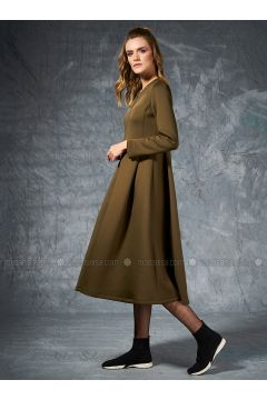 Khaki - Unlined - Crew neck - Coat - Eda Atalay(110331486)