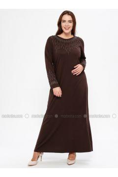 Brown - Unlined - Crew neck - Muslim Plus Size Evening Dress - Havva Ana(110329982)