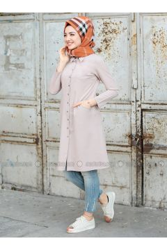 Cream - Point Collar - Tunic - Puqqa(110332935)