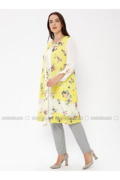 Yellow - Multi - Crew neck - Tunic - Le Mirage(110338979)