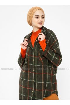 Khaki - Plaid - Point Collar - Tunic - SELLY(110330504)