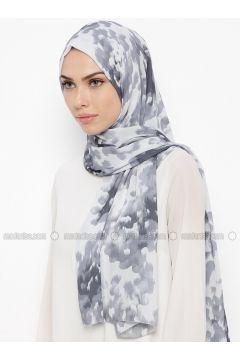 Gray - Smoke-coloured - Printed - Shawl - Qubbe(110317365)