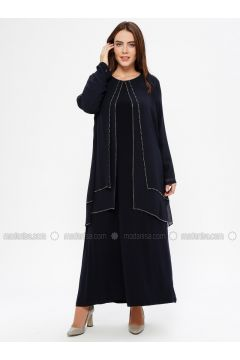 Navy Blue - Unlined - Crew neck - Muslim Plus Size Evening Dress - Havva Ana(110329975)