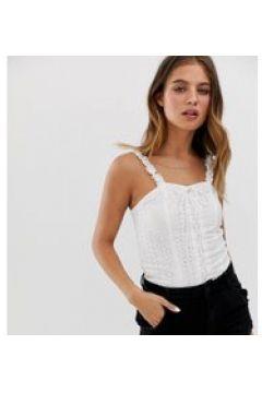 New Look - Weißes Camisole mit Rüschen - Weiß(86704987)