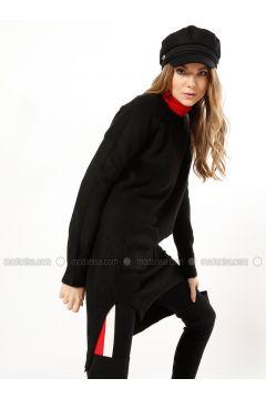 Black - Polo neck - Acrylic -- Tunic - Dilvin(110327236)