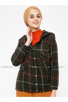 Khaki - Plaid - Point Collar - Blouses - SELLY(110330506)