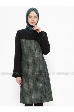 Emerald - Fully Lined - Crew neck - Coat - Tekbir(110335678)