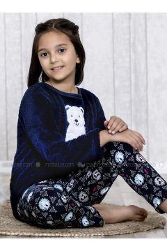 Navy Blue - Crew neck - Multi - Kids Pijamas - Lingabooms(110313116)