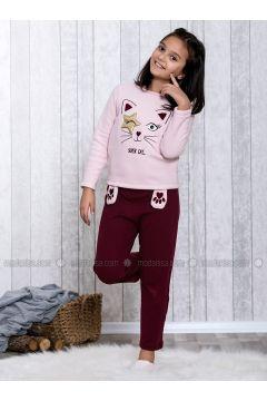 Maroon - Crew neck - Multi - Kids Pijamas - Lingabooms(110313136)