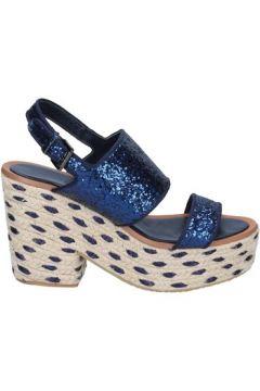Espadrilles Sara Lopez sandales bleu glitter textile BS147(98485623)