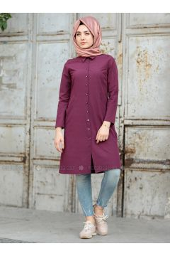 Plum - Point Collar - Tunic - Puqqa(110332934)