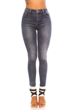 Basic High Waist Skinny Jeans im Used-Look(111127847)
