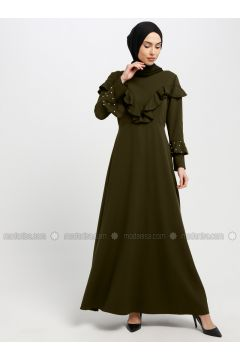 Green - Khaki - Crew neck - Unlined - Dresses - SomFashion(110329274)