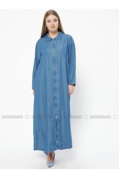Blue - Unlined - Round Collar - Denim - Abaya - Neways(110312915)