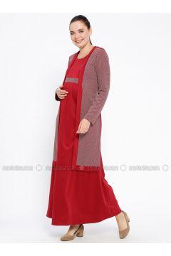 Maroon - Crew neck - Unlined - Viscose - Maternity Dress - Havva Ana(110313986)