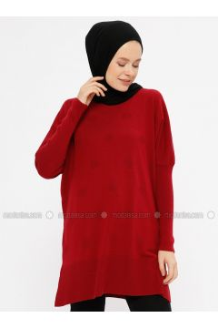 Red - Crew neck - Acrylic -- Tunic - ERL(110329448)