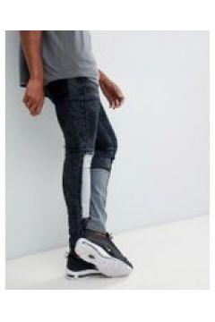Liquor N Poker - Enge Jeans mit Patchwork-Details - Blau(83152833)
