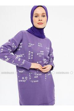 Purple - Multi - Cotton - Crew neck - Tracksuit Top - Hatun Atila(110332265)
