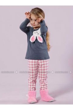 Pink - Crew neck - Multi - Cotton - Kids Pijamas - Siyah inci(100975064)