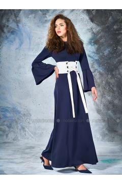 Navy Blue - Crew neck - Unlined - Dresses - Eda Atalay(110331462)