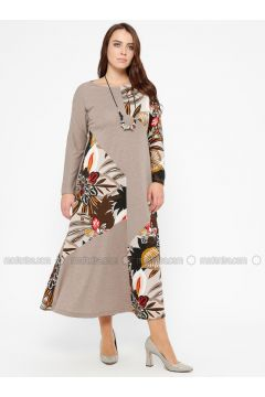 Minc - Multi - Unlined - Crew neck - Plus Size Dress - CARİNA(110320295)