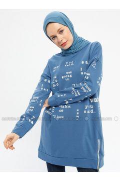 Indigo - Multi - Cotton - Crew neck - Tracksuit Top - Hatun Atila(110332267)