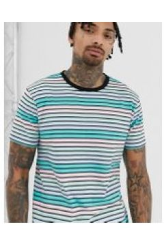 D-Struct - T-Shirt mit Streifen in Pastellfarben - Blau(89509874)