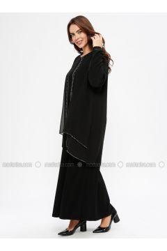 Black - Unlined - Crew neck - Muslim Plus Size Evening Dress - Havva Ana(110329974)