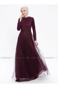 Purple - Fully Lined - Crew neck - Muslim Evening Dress - Robir(110320661)