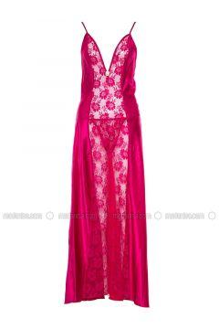 Fuchsia - V neck Collar - Nightdress - Lingabooms(110316357)