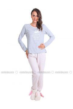 Gray - Crew neck - Multi - Pyjama - Meliana(110314580)
