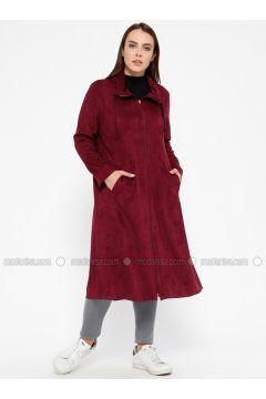 Cherry - Unlined - Point Collar - Plus Size Coat - ECESUN(110329384)