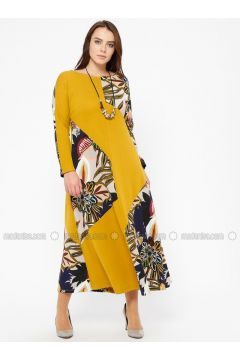Mustard - Multi - Unlined - Crew neck - Plus Size Dress - CARİNA(110320296)