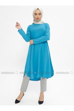 Blue - Crew neck - Tunic - Mileny(110329350)