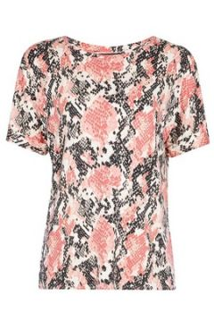 Rosa Utility-T-Shirt mit Schlangenhaut-Print(79755289)